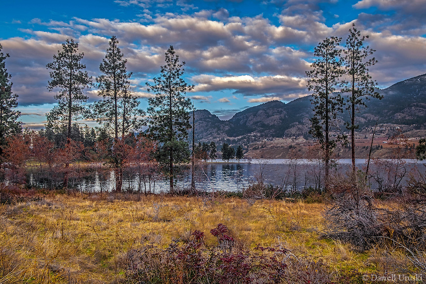 Fine Art Print Mountain and Lake Scenic of a peaceful wooded area during the fall season in the south Okanagan Valley, in BC, Canada.