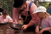 AJ3391, gold panning, Stone Mountain, Atlanta, Georgia's Stone Mountain Park, Georgia, Man shows children how to pan for gold during the Antebellum Jubilee at Stone Mountain Park in Atlanta in the state of Georgia.