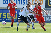 20180307 - LARNACA , CYPRUS : Austrian Laura Feiersinger (left) pictured in a duel with Welsh Gemma Evans (r) during a women's soccer game between Austria and Wales , on wednesday 7 March 2018 at the AEK Arena in Larnaca , Cyprus . This is the final game for the 7th and 8th  place  for Austria and Wales on the Cyprus Womens Cup , a prestigious women soccer tournament as a preparation on the World Cup 2019 qualification duels. PHOTO SPORTPIX.BE | DAVID CATRY