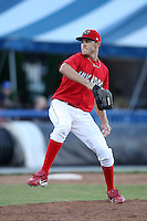 Batavia Muckdogs pitcher Kevin Siegrist (19) during a game vs. the Auburn Doubledays at Dwyer Stadium in Batavia, New York June 19, 2010.   Batavia defeated Auburn 2-1.  Photo By Mike Janes/Four Seam Images