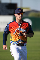 Alex Bregman (6) of the Lancaster JetHawks warms before a game against the High Desert Mavericks at The Hanger on September 5, 2015 in Lancaster, California. High Desert defeated Lancaster, 7-6. (Larry Goren/Four Seam Images)