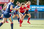 Mannheim, Germany, September 12: During the 1. Bundesliga women fieldhockey match between Mannheimer HC (blue) and Ruesselsheimer RK (red) on September 12, 2020 at Am Neckarkanal in Mannheim, Germany. Final score 2-0 (HT 1-0). (Copyright Dirk Markgraf / www.265-images.com) ***
