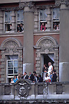 Trooping the Colour. Guests watch from apartments overlooking the Horse Guards parade ground, London England.  The English Season published by Pavilon Books 1987. page 108.