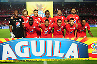 CALI-COLOMBIA , 28-02-2019.Formación del América de Cali ante el Independiente Santa Fe durante partido por la fecha 7 de la Liga Águila I 2019 jugado en el estadio Pascual Guerrero de la ciudad de Cali./ Team of America of Cali agaisnt of Independiente Santa Fe during the match for the date 7 of the Aguila League I 2019 played at Pascual Guerrero stadium in Cali city. Photo: VizzorImage/ Nelson Rios / Contribuidor