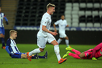 Pictured: Adam King of Swansea scores one of hat trick goals Tuesday 28 February 2017<br /> Re: Premier League International Cup, Swansea City U23 v Hertha Berlin II at at the Liberty Stadium, Swansea, UK