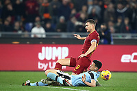 Football, Serie A: AS Roma - S.S. Lazio, Olympic stadium, Rome, January 26, 2020. <br /> Roma's captain Edin Dzeko (behind) in action witht Lazio's Luis Felipe Ramos Marchi (in front of) during the Italian Serie A football match between Roma and Lazio at Olympic stadium in Rome, on January,  26, 2020. <br /> UPDATE IMAGES PRESS/Isabella Bonotto