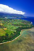 Aerial of the Princeville hotel on Kauai