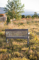 Xeriscape New Mexico meadow garden with bench in High Plains short grass prairie native meadow landscape near Santa Fe; design by Judith Phillips