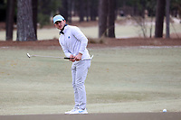 PINEHURST, NC - MARCH 02: Dougie Ergood of the University of North Carolina putts on the first hole at Pinehurst No. 2 on March 02, 2021 in Pinehurst, North Carolina.