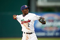 Fort Myers Miracle shortstop Nick Gordon (2) warmup throw to first during a game against the Brevard County Manatees on April 13, 2016 at Hammond Stadium in Fort Myers, Florida.  Fort Myers defeated Brevard County 3-0.  (Mike Janes/Four Seam Images)