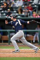 Pensacola Blue Wahoos first baseman Travis Mattair (25) at bat during a game against the Jacksonville Suns on April 20, 2014 at Bragan Field in Jacksonville, Florida.  Jacksonville defeated Pensacola 5-4.  (Mike Janes/Four Seam Images)