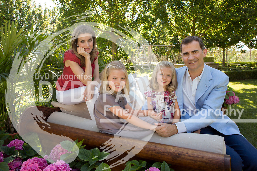 POOL 2012. Madrid. Spain. Princess Letizia Ortiz 40th Birthday anniversary.  Princes of Asturias Felipe de Borbon and Letizia Ortiz and their daughters Princesses Leonor and Sofia. (C) Cristina Garcia Rodero/Spanish Royal House/ Casa de su Majestad el Rey. POOL