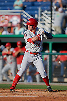 Auburn Doubledays Jake Randa (16) bats during a NY-Penn League game against the Batavia Muckdogs on June 18, 2019 at Dwyer Stadium in Batavia, New York.  Batavia defeated Auburn 7-5.  (Mike Janes/Four Seam Images)
