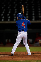 AZL Cubs 1 Herson Perez (4) at bat during an Arizona League game against the AZL Angels on June 24, 2019 at Sloan Park in Mesa, Arizona. AZL Cubs 1 defeated the AZL Angels 12-0. (Zachary Lucy / Four Seam Images)