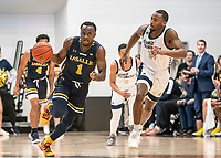 WASHINGTON, DC - FEBRUARY 22: Maceo Jack #14 of George Washington pursues David Betty #1 of La Salle up court during a game between La Salle and George Washington at Charles E Smith Center on February 22, 2020 in Washington, DC.