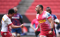 27th March 2021; Ashton Gate Stadium, Bristol, England; Premiership Rugby Union, Bristol Bears versus Harlequins; Joe Marchant of Harlequins celebrates scoring a try in the 69th minute for 21-28