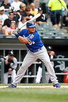 Kansas City Royals designated hitter Melky Cabrera #53 during a game against the Chicago White Sox at U.S. Cellular Field on August 14, 2011 in Chicago, Illinois.  Chicago defeated Kansas City 6-2.  (Mike Janes/Four Seam Images)