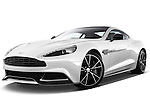 Low aggressive front three quarter view of a 2012 - 2014 Aston Martin Vanquish 2+2 Coupe.