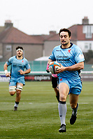 TRY - Miles Mantella of London Scottish goers over the line to score during the Greene King IPA Championship match between Ealing Trailfinders and London Scottish Football Club at Castle Bar , West Ealing , England  on 19 January 2019. Photo by Carlton Myrie/PRiME Media Images