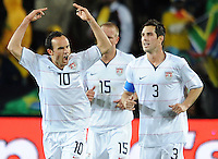 Landon Donovan (10) of USA celebrates scoring his side's second goal. USA leads Brazil 2-0 after the first half during the FIFA Confederations Cup Final at Ellis Park Stadium in Johannesburg, South Africa on June 28, 2009..