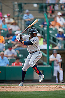 Columbus Clippers designated hitter Yandy Diaz (10) bats during a game against the Rochester Red Wings on August 9, 2017 at Frontier Field in Rochester, New York.  Rochester defeated Columbus 12-3.  (Mike Janes/Four Seam Images)