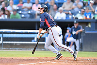 Rome Braves Bryce Ball (45) swings at a pitch during a game against the Asheville Tourists at McCormick Field on August 12, 2019 in Asheville, North Carolina. The Tourists defeated the Braves 11-6. (Tony Farlow/Four Seam Images)