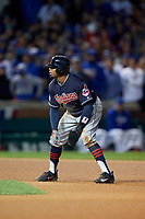 Cleveland Indians Rajai Davis (20) leads off second base in the eighth inning during Game 5 of the Major League Baseball World Series against the Chicago Cubs on October 30, 2016 at Wrigley Field in Chicago, Illinois.  (Mike Janes/Four Seam Images)