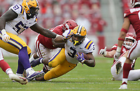 LSU running back Tyrion Davis-Price (3) carries the ball, Saturday, November 21, 2020 during the second quarter of a football game at Donald W. Reynolds Razorback Stadium in Fayetteville. Check out nwaonline.com/201122Daily/ for today's photo gallery. <br /> (NWA Democrat-Gazette/Charlie Kaijo)