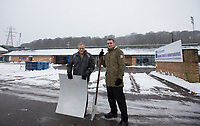 Volunteers help Wycombe Wanderers Football Club clear snow ahead of tomorrows fixtures vs Bradford City - Snowfall in High Wycombe, Buckinghamshire on 1 February 2019. Photo by Andy Rowland.