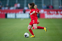 CARSON, CA - FEBRUARY 07: Allysha Chapman #2 of Canada moves with the ball during a game between Canada and Costa Rica at Dignity Health Sports Park on February 07, 2020 in Carson, California.
