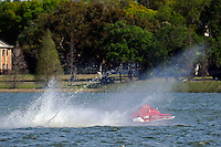 """Y-563 """"Lobster Boat"""" takes a bad hop racing into turn one.  (1 Litre MOD hydroplane(s)"""