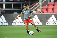 WASHINGTON, DC - MAY 13: Andy Najar #14 of D.C. United warming up during a game between Chicago Fire FC and D.C. United at Audi FIeld on May 13, 2021 in Washington, DC.