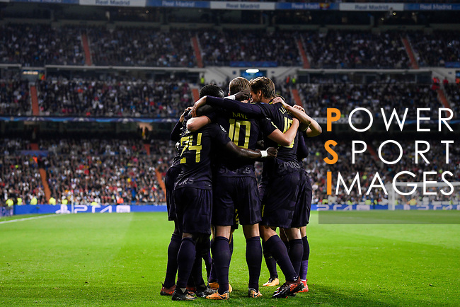 Players of Tottenham Hotspur FC celebrate after an own goal is made by Real Madrid during the UEFA Champions League 2017-18 match between Real Madrid and Tottenham Hotspur FC at Estadio Santiago Bernabeu on 17 October 2017 in Madrid, Spain. Photo by Diego Gonzalez / Power Sport Images