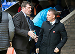 St Johnstone v Celtic…07.10.18…   McDiarmid Park    SPFL<br />Tommy Wright greets Celtic manager Brendan Rodgers<br />Picture by Graeme Hart. <br />Copyright Perthshire Picture Agency<br />Tel: 01738 623350  Mobile: 07990 594431