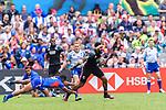 Tomasi Alosio of Samoa (L) tries to tackle Amanaki Nicole of New Zealand (R) during the HSBC Hong Kong Sevens 2018 match between New Zealand and Samoa on April 7, 2018 in Hong Kong, Hong Kong. Photo by Marcio Rodrigo Machado / Power Sport Images