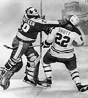 On his own: Leaf goalie Mike Palmateer not only played a brilliant game; stopping many Montreal scoring chances; but he took this shot at Steve Shutt to keep him away from goal crease. It was to no avail as mighty Habs rolled over lethargic Leafs; 5-3. Leaf coach Roger Neilson was unhappy that team didn't play hitting game that worked so well against New York Isanders.<br /> <br /> Bezant, Graham<br /> Picture, 1978<br /> <br /> 1978<br /> <br /> PHOTO : Graham Bezant - Toronto Star Archives - AQP