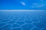 Bolivia, Altiplano, Salar de Uyuni, world's largest salt pan; hexagons evolve a few months after salt pan has dried up; at dusk
