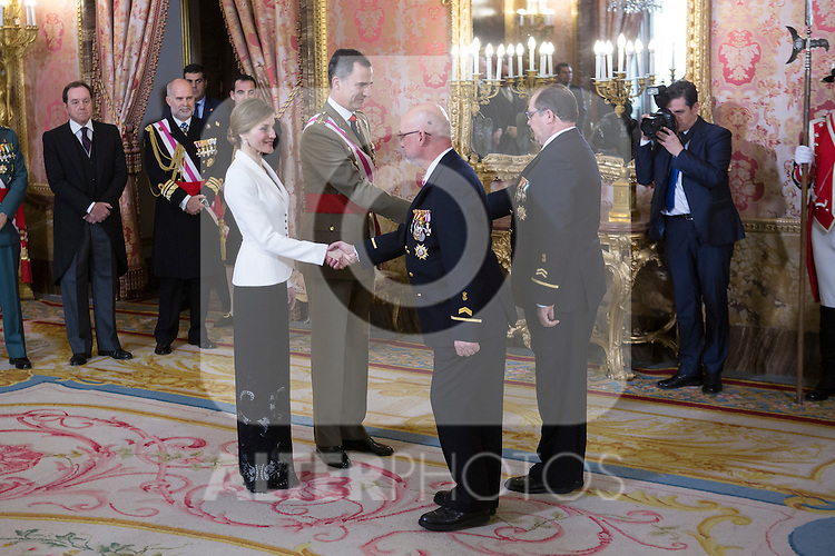 King Felipe VI of Spain and Queen Letizia of Spain preside the Military Eastern (Pascua Militar) at the Royal Palace in Madrid, Spain. January 06, 2015. (ALTERPHOTOS/Pool)