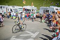 simon Clarke (AUS/Orica-GreenEDGE) up the Port de Balès (HC/1755m/11.7km/7.7%)<br /> <br /> 2014 Tour de France<br /> stage16: Carcassonne - Bagnères-de-Luchon (237km)