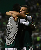 PALMIRA - COLOMBIA, 19-09-2018: Los jugadores de Deportivo Cali celebran el gol anotado a Liga Deportiva Universitaria de Quito, durante partido entre Deportivo Cali (COL) y Liga Deportiva Universitaria de Quito (ECU), de los octavos de final, llave H, por la Copa Conmebol Sudamericana 2018, jugado en el estadio Deportivo Cali (Palmaseca) en la ciudad de Palmira. /  The players of Deportivo Cali celebrate a scored goal to Liga Deportiva Universitaria de Quito, during a match between Deportivo Cali (COL) and Liga Deportiva Universitaria de Quito (ECU), of eighth finals, key H, for the Copa Conmebol Sudamericana 2018, at the Deportivo Cali (Palmaseca) stadium in Palmira city. Photo: VizzorImage  / Luis Ramirez / Staff.