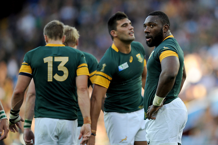 Tendai Mtawarira of South Africa looks on during Match 15 of the Rugby World Cup 2015 between South Africa and Samoa - 26/09/2015 - Villa Park, Birmingham<br /> Mandatory Credit: Rob Munro/Stewart Communications