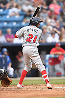 Lakewood BlueClaws second baseman Daniel Brito (21) awaits a pitch during a game against the Beer City Tourists at McCormick Field on June 1, 2017 in Asheville, North Carolina. The Tourists defeated the BlueClaws 8-5. (Tony Farlow/Four Seam Images)