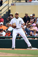 Detroit Tigers first baeman Jordan Lennerton (74) during a Spring Training game against the Washington Nationals on March 22, 2015 at Joker Marchant Stadium in Lakeland, Florida.  The game ended in a 7-7 tie.  (Mike Janes/Four Seam Images)