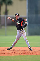 Miami Marlins shortstop Aaron Blanton (65) during a minor league spring training game against the New York Mets on March 28, 2014 at the Roger Dean Stadium Complex in Jupiter, Florida.  (Mike Janes/Four Seam Images)