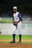 Brooklyn Cyclones relief pitcher Justin Dunn (19) gets ready to deliver a warmup pitch during a game against the Batavia Muckdogs on July 4, 2016 at Dwyer Stadium in Batavia, New York.  Brooklyn defeated Batavia 5-1.  (Mike Janes/Four Seam Images)