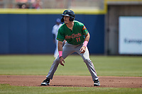 Evan Carter (11) of the Down East Wood Ducks takes his lead off of first base against the Kannapolis Cannon Ballers at Atrium Health Ballpark on May 9, 2021 in Kannapolis, North Carolina. (Brian Westerholt/Four Seam Images)