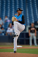 Tampa Tarpons pitcher Luis Gil (34) during a Florida State League game against the Jupiter Hammerheads on July 26, 2019 at George M. Steinbrenner Field in Tampa, Florida.  Tampa defeated Jupiter 4-3.  (Mike Janes/Four Seam Images)