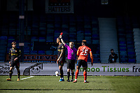 17th April 2021; Kenilworth Road, Luton, Bedfordshire, England; English Football League Championship Football, Luton Town versus Watford; Kiko Femenia is sent off with a red card by referee Gavin Ward for a second bookable offence.