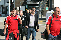 Wednesday 07 August 2013<br /> Pictured: Manager Michael Laudrup at Cardiff Airport.<br /> Re: Swansea City FC travelling to Sweden for their Europa League 3rd Qualifying Round, Second Leg game against Malmo.
