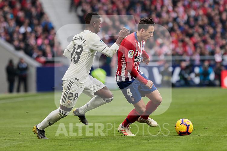 Atletico de Madrid's Santiago Arias and Real Madrid's Vinicius Jr. during La Liga match between Atletico de Madrid and Real Madrid at Wanda Metropolitano Stadium in Madrid, Spain. February 09, 2019. (ALTERPHOTOS/A. Perez Meca)